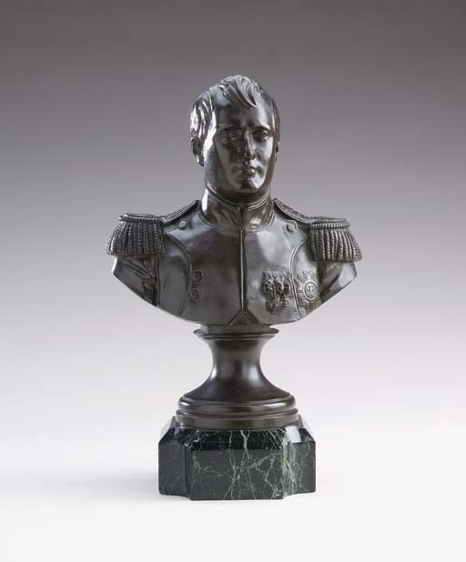 A PATINATED BRONZE PORTRAIT BU