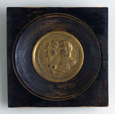 A GILT BRONZE ELECTROTYPE PLAQ