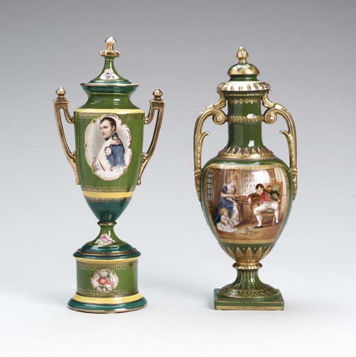 TWO VIENNA STYLE PORCELAIN URN
