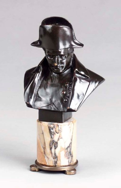 A PATINATED BRONZE BUST OF NAP