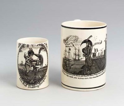 THREE ENGLISH CREAMWARE MUGS,