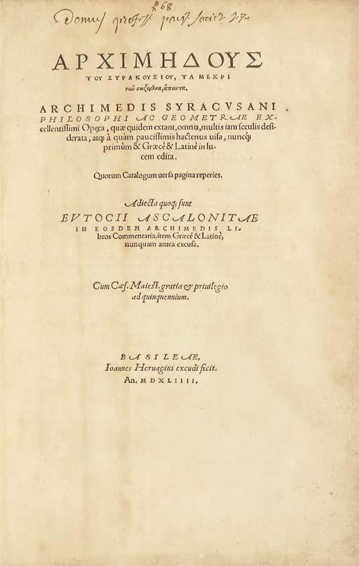 ARCHIMÈDE (287?-212 av.J.-C.).