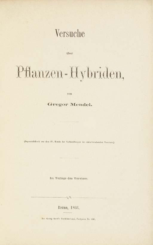 MENDEL, Gregor Johann (1822-18