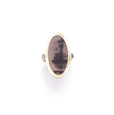 BAGUE AGATE ET DIAMANTS