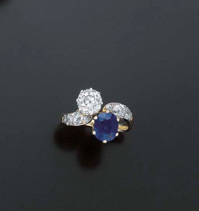 BAGUE SAPHIR ET DIAMANTS