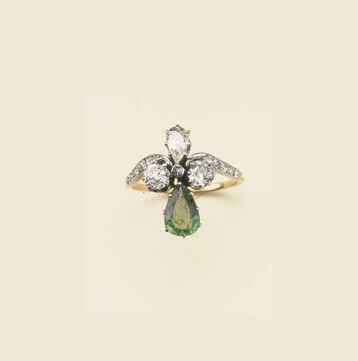 Anello in oro con smeraldo e d