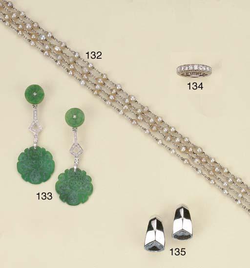 Sautoir in platino e perle col