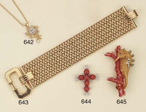 Croce in oro con corallo e bri