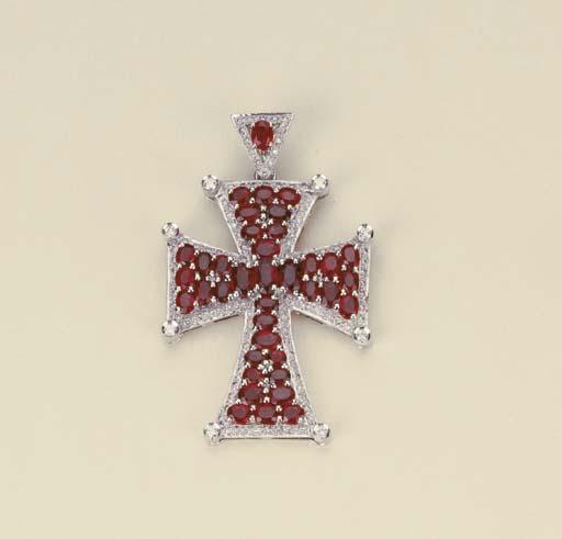 Croce in oro, brillanti e rubi