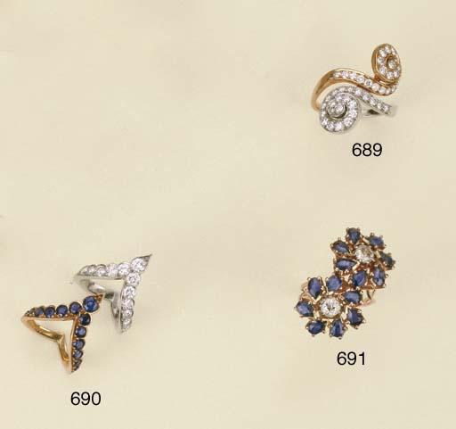 Coppia di anelli in oro e plat
