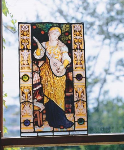 A VICTORIAN STAINED GLASS PANE