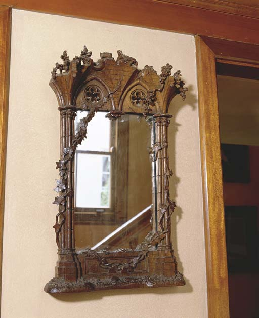 A VICTORIAN GOTHIC OAK CARVED