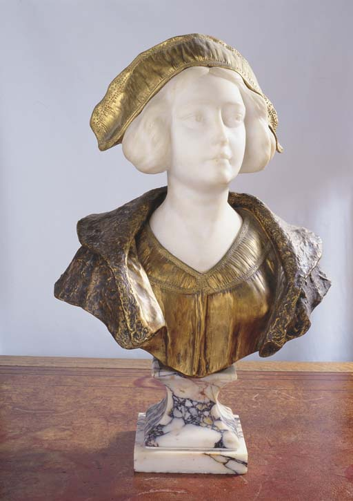 A MARBLE AND BRONZE BUST OF A