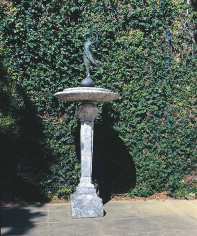 AN ITALIAN BRONZE AND MARBLE F