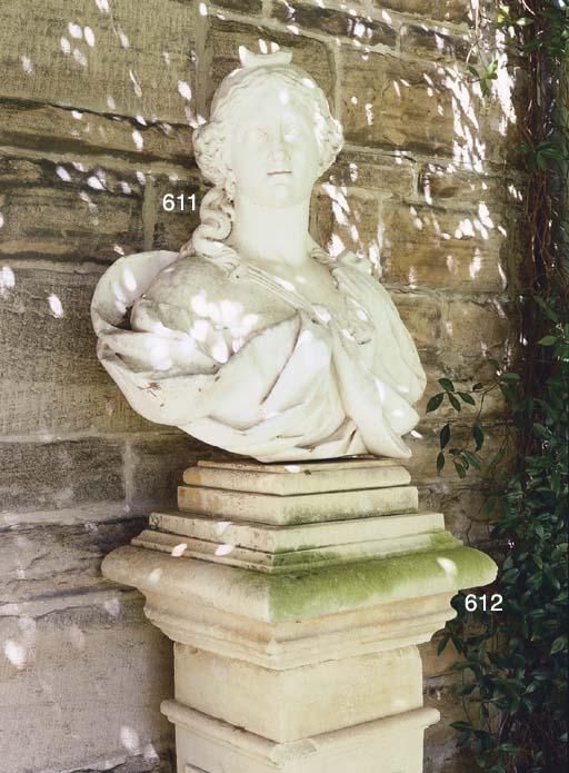A LOUIS XV WHITE MARBLE BUST O