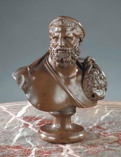 A copper bust of Hercules