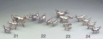 Four various silver cow-creame