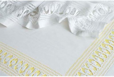 A linen tablecloth and fourtee