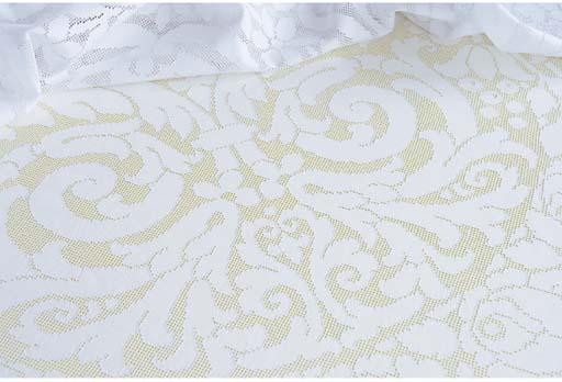 An openworked linen circular tablecloth