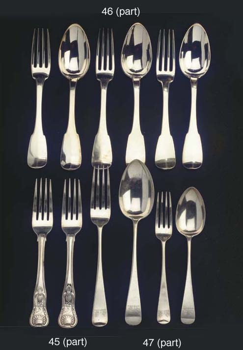 Eleven Scottish silver table forks and an Irish table fork