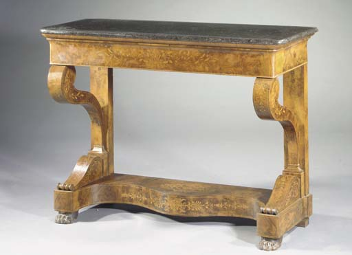 A Charles X walnut and fruitwood marquetry console