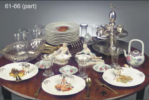 Twelve Dutch silver-gilt dessert spoons and forks