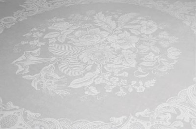 a damask linen banquet tablecl
