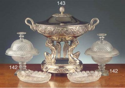 A large modern silver tureen
