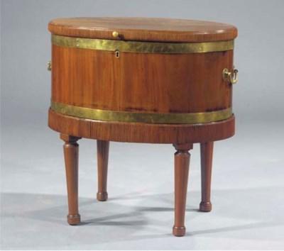 A brass banded mahogany cellar