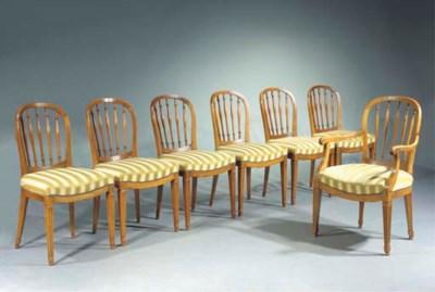 A set of seven Dutch elmwood d