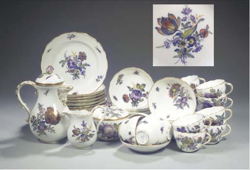 (41) A Meissen porcelain floral gilt coffee service