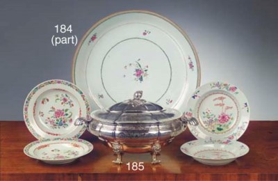 A silver tureen with cover
