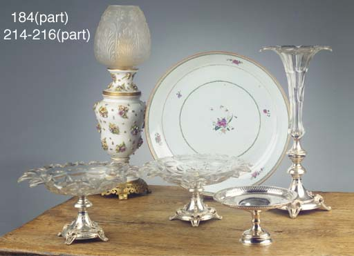 A Dutch silver-mounted and cut-glass centre-piece, a dish on foot and another foot