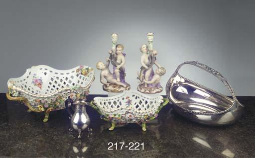 A Meissen porcelain flower-encrusted outside-decorated ajour basket
