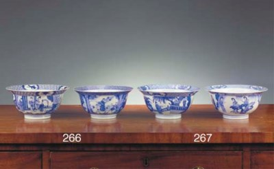 Two Chinese blue and white 'kl