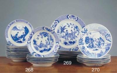 A set of sixteen Chinese blue
