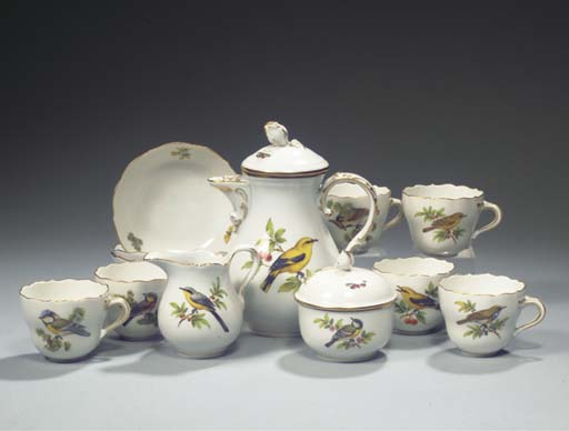 (17) A Meissen porcelain ornithological mocca service