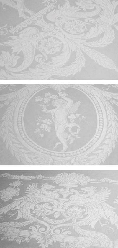 A pictorial damask linen banqu