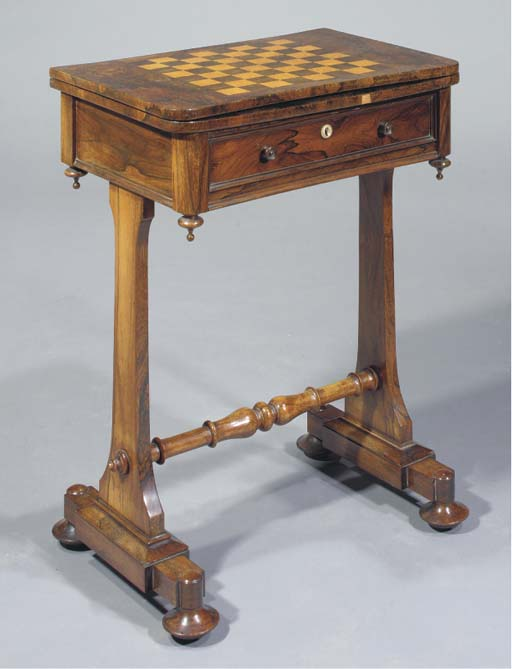 An Early Victorian rosewood and bird's eye maple gamestable