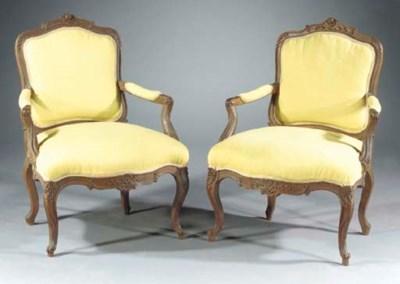 A pair of oak fauteuils