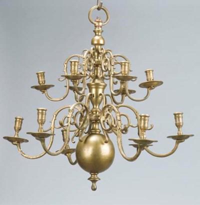 A Dutch brass twelve-light two