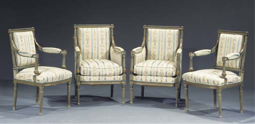 A parcel-gilt grey and blue-painted suite of seat-furniture comprising two bergeres and two fauteuils