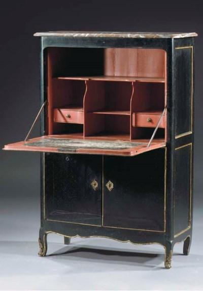 A Louis XV parcel-gilt and bla