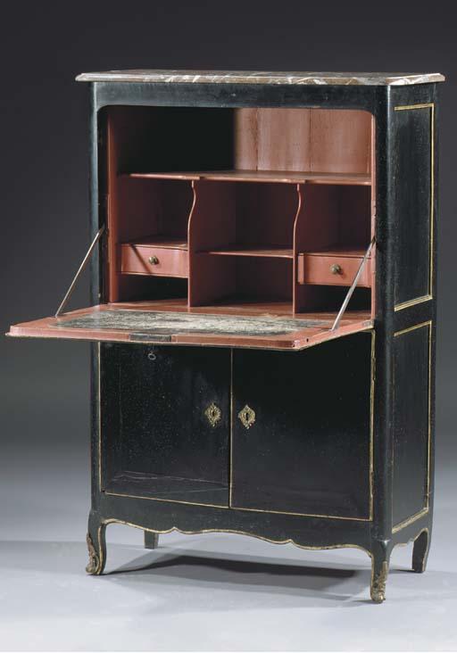 A Louis XV parcel-gilt and black-japanned secretaire a abattant