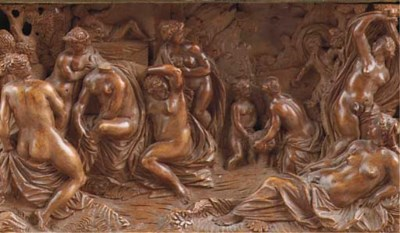 A carved wood relief panel dep