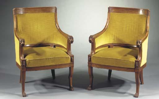 A pair of French mahogany bergeres