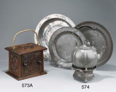 (4) A DUTCH PEWTER TEA-POT AND