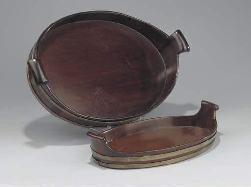 Two Dutch brass-banded mahogany trays