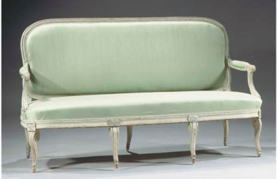 A Louis XVI grey-painted canap
