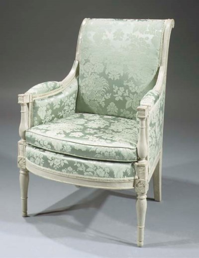 A Directoire grey-painted berg